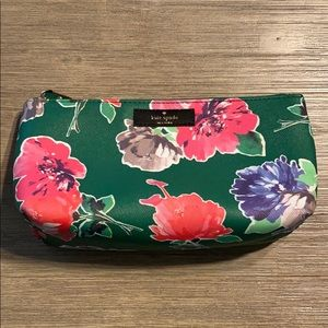 Kate Spade green floral Shiloh cosmetic pouch